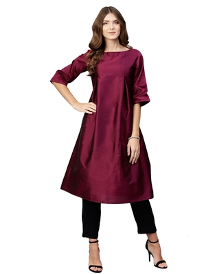 Wine Plain Art Silk  Long Kurtis