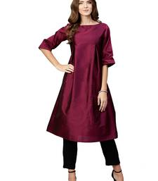 Wine plain art silk long-kurtis