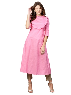 Pink Plain Art Silk  Long Kurtis