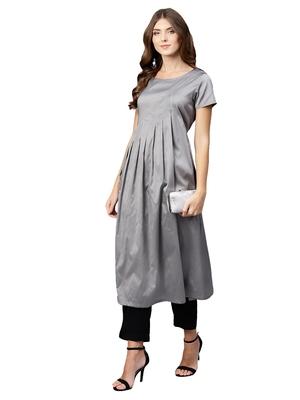 Grey plain art silk long-kurtis