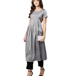 Grey plain art silk long-kurtis