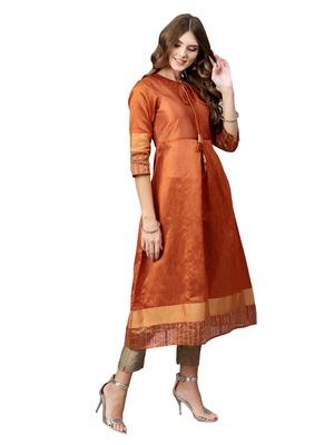 Orange Plain Art Silk  Long Kurtis