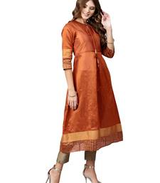 Orange plain art silk long-kurtis