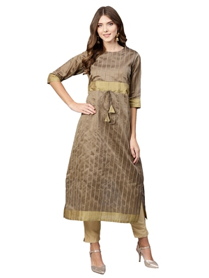Beige plain art silk long-kurtis