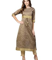 Beige Plain Art Silk  Long Kurtis