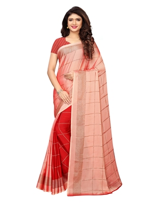 Peach printed shimmer saree with blouse
