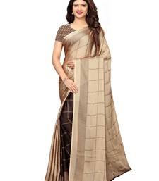 Beige Printed Shimmer Saree With Blouse
