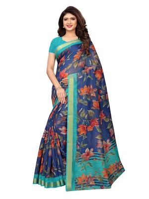 Navy Blue Printed Cotton Silk Saree With Blouse