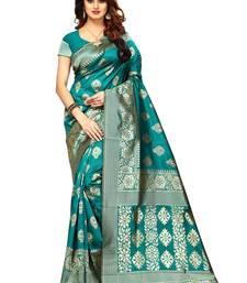 Teal woven banarasi saree with blouse