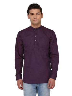 Blue Woven Cotton Men Kurtas