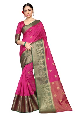 Pink hand woven faux jacquard saree with blouse