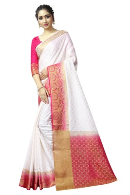 White hand woven faux jacquard saree with blouse