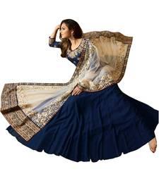 Dark-navy-blue embroidered pure bhagalpuri silk salwar