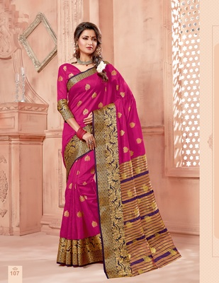 Pink zari work chanderi silk saree with blouse