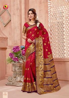 Red Zari Work Chanderi Silk Saree With Blouse