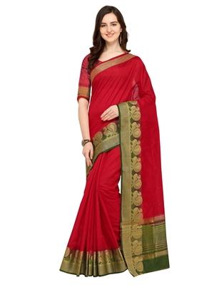 eb83204c7fc64a Red plain art silk saree with blouse - Saree Swarg - 2845781