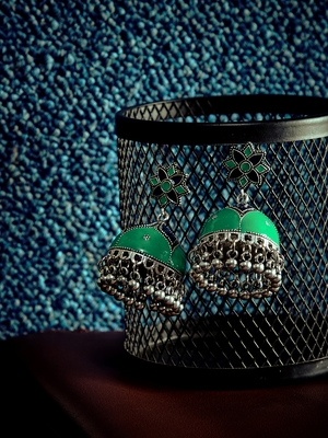 Zerokaata Green And Blue Meenakari Jhumki Earrings