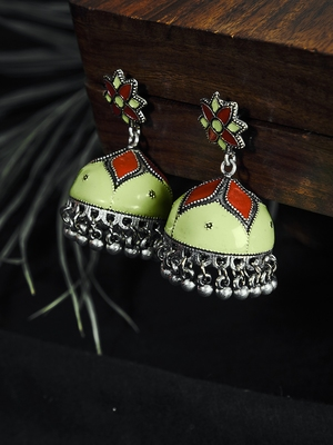 Zerokaata Sea Green And Red Meenakari Jhumki Earrings