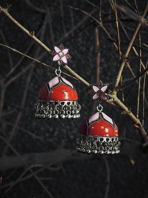 Zerokaata Peach And Red Meenakari Jhumki Earrings