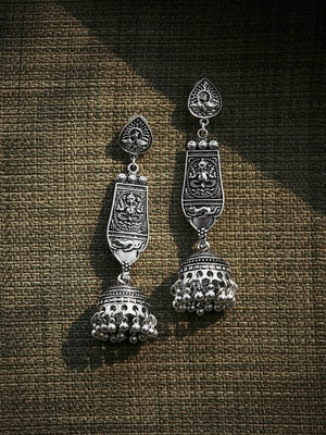 Zerokaata Long Oxidized Silver Ganesha Jhumka Earrings