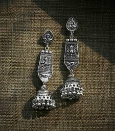 ZeroKaata Long Oxidized Silver Ganesha Jhumka Earrings