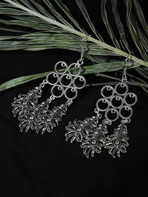 Zerokaata Long Oxidized Silver Patterned Earrings