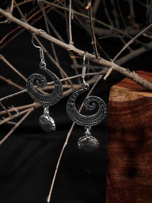 Zerokaata Spiral Oxidized Silver Earrings