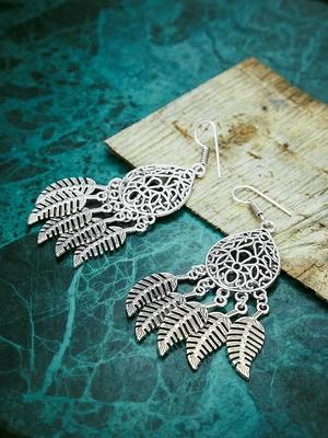 Zerokaata Leafy Oxidized Silver Earrings