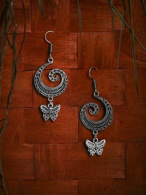 Zerokaata Oxidized Silver Butterfly Earrings