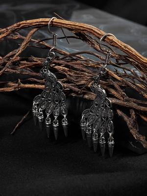 Zerokaata Oxidized Silver Peacock Earrings