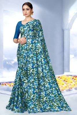 Parrot green printed silk saree with blouse