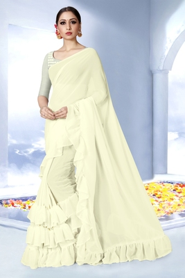 Off white plain georgette saree with blouse
