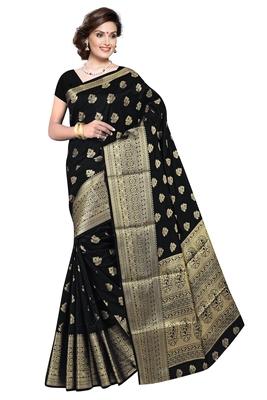 Women's Black Jacquard Banarasi Silk Saree With Rich Pallu