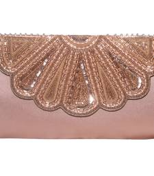 PU  Regzine Made Gold Color Clutch With Hand Zari, Embroidery & Stone Embellishemnt Work