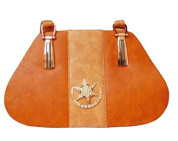 Tan & Peach Color PU Sling Bag For Women's & Girls