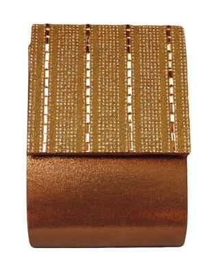 Shining Brown Color Sunshine PU Made Sling Clutch Bag  Mobile Pocket With Diamond Sheet Embellishment Work