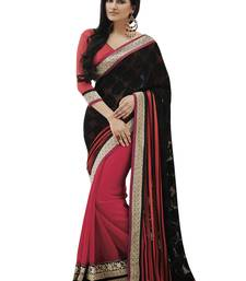 Black embroidered brasso saree with blouse