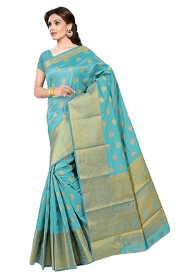 Women's Sky Blue Jacquard Banarasi Silk Saree With Rich Pallu