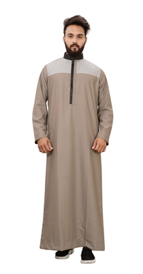 Brown plain cotton mens galabiyya thobe