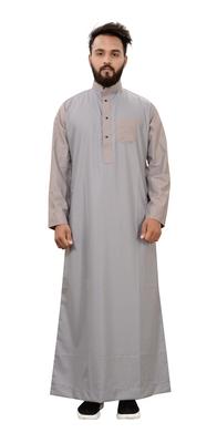 Grey plain cotton mens galabiyya thobe