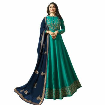 Green embroidered satin anarakali with dupatta