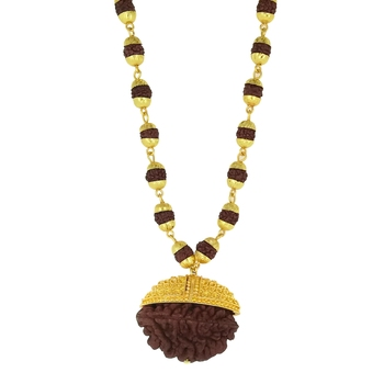 Saizen High Quality Trishul Rudraksha Pendant With Gold Chain For Men & Boys Gold-Plated Stainless Steel Pendant Set