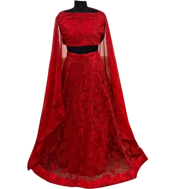 Red embroidered georgette semi stitched lehenga with dupatta