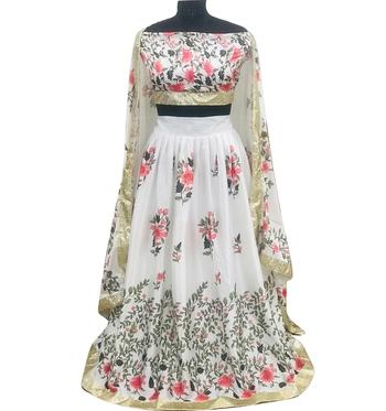 White digital print silk semi stitched lehenga with dupatta