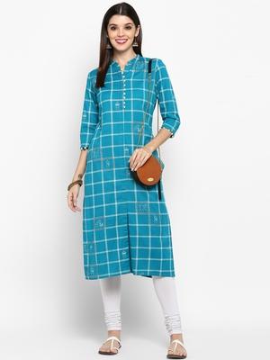 Sky-blue printed cotton kurti