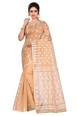Beige plain cotton silk saree without blouse