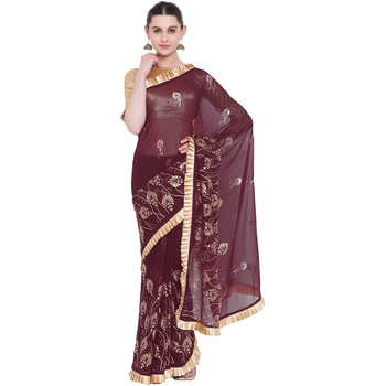 Wine hand woven georgette saree with blouse