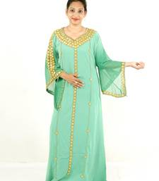 Light-green embroidered georgette islamic kaftans