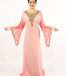 Light-pink embroidered georgette islamic kaftans