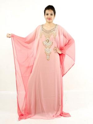 Light-pink embroidered georgette islamic kaftans